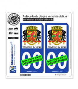 Congo - Armoiries | Autocollant plaque immatriculation