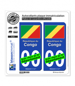 Congo - Drapeau | Autocollant plaque immatriculation