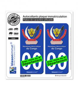 RD Congo - Armoiries | Autocollant plaque immatriculation