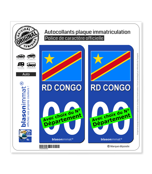 RD Congo - Drapeau | Autocollant plaque immatriculation