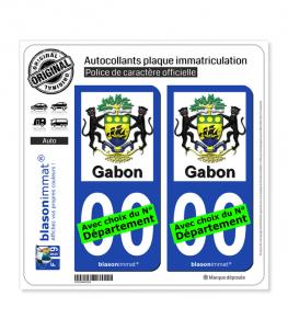 Gabon - Armoiries | Autocollant plaque immatriculation