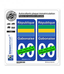 Gabon - Drapeau | Autocollant plaque immatriculation