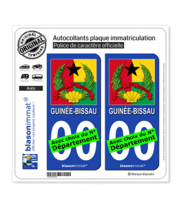 Guinée-Bissau - Armoiries Drapées | Autocollant plaque immatriculation