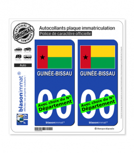 Guinée-Bissau - Drapeau | Autocollant plaque immatriculation