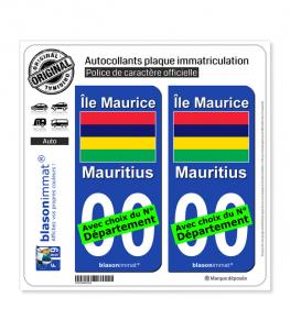 Île Maurice - Drapeau | Autocollant plaque immatriculation