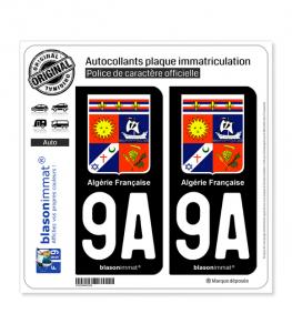 9A Algérie Française - Armoiries | Autocollant plaque immatriculation