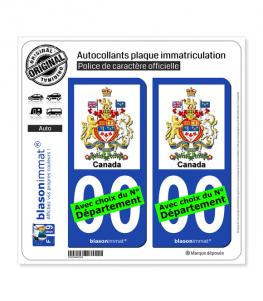 Canada - Armoiries | Autocollant plaque immatriculation