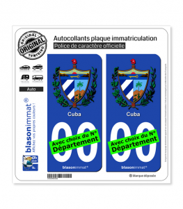 Cuba - Armoiries | Autocollant plaque immatriculation