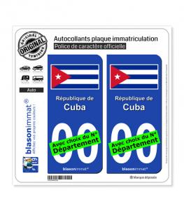 Cuba - Drapeau | Autocollant plaque immatriculation