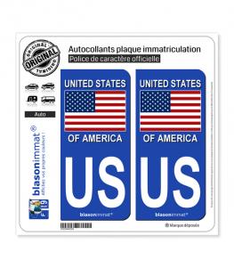 US États-Unis - Drapeau | Autocollant plaque immatriculation