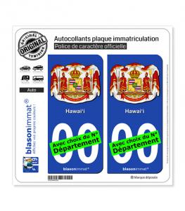 Hawaï - Armoiries | Autocollant plaque immatriculation
