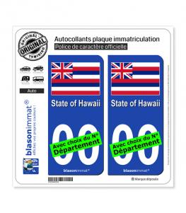 Hawaï - Drapeau | Autocollant plaque immatriculation