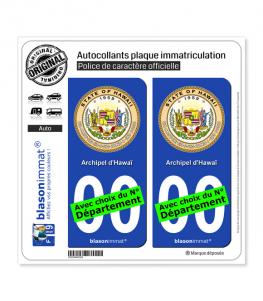 Hawaï - Sceau | Autocollant plaque immatriculation