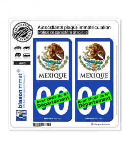 Mexique - Armoiries | Autocollant plaque immatriculation