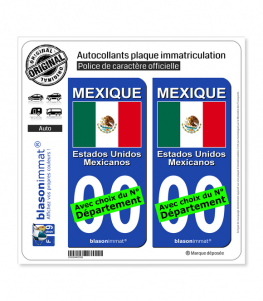 Mexique - Drapeau | Autocollant plaque immatriculation
