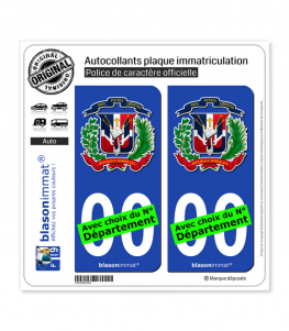 République Dominicaine - Armoiries | Autocollant plaque immatriculation