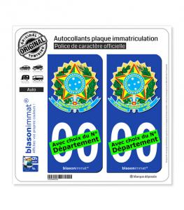 Brésil - Armoiries | Autocollant plaque immatriculation