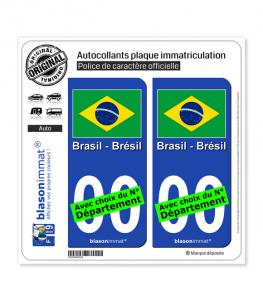 Brésil - Drapeau | Autocollant plaque immatriculation