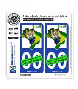Brasil - Drapeau Animal | Autocollant plaque immatriculation