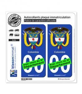 Colombie - Armoiries | Autocollant plaque immatriculation