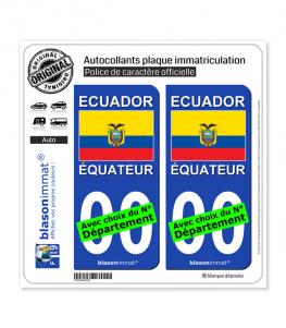 Équateur - Drapeau | Autocollant plaque immatriculation