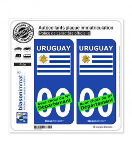 Uruguay - Drapeau | Autocollant plaque immatriculation