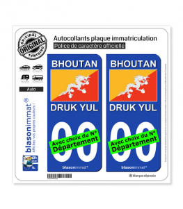 Bhoutan - Drapeau | Autocollant plaque immatriculation