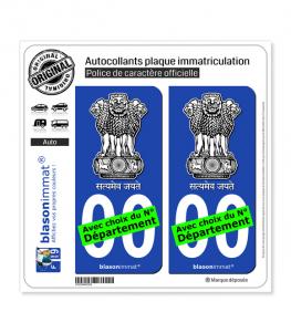 Inde - Emblème | Autocollant plaque immatriculation