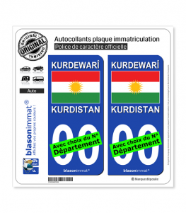 Kurdistan - Drapeau | Autocollant plaque immatriculation