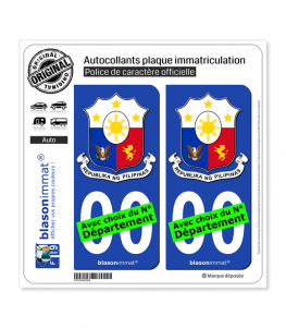 Philippines - Armoiries | Autocollant plaque immatriculation