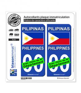 Philippines - Drapeau | Autocollant plaque immatriculation