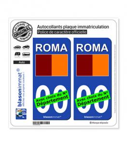Rome Ville - Drapeau | Autocollant plaque immatriculation