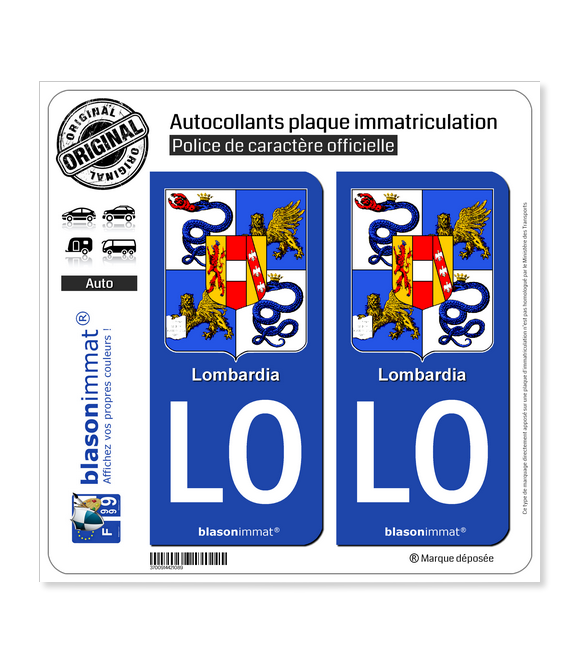 LO Lombardie Région - Armoiries (Italie) | Autocollant plaque immatriculation