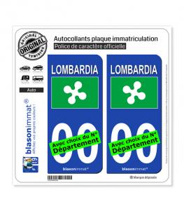 Lombardie Région - Drapeau (Italie) | Autocollant plaque immatriculation