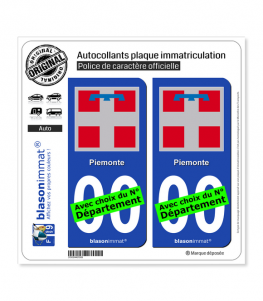 Piémont Région - Armoiries (Italie) | Autocollant plaque immatriculation