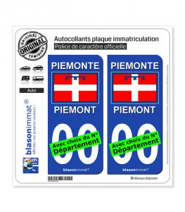 Piémont Région - Drapeau (Italie) | Autocollant plaque immatriculation