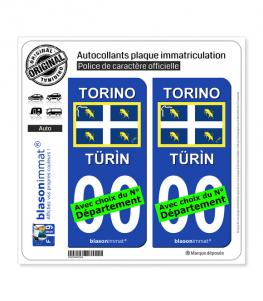Turin Ville - Drapeau | Autocollant plaque immatriculation