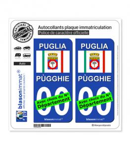 Pouilles Région - Drapeau (Italie) | Autocollant plaque immatriculation