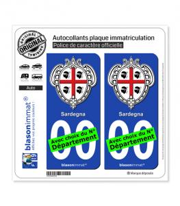 Sardaigne Région - Armoiries (Italie)   Autocollant plaque immatriculation