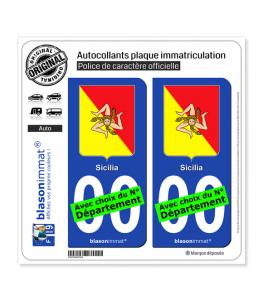 Sicile Région - Armoiries (Italie) | Autocollant plaque immatriculation