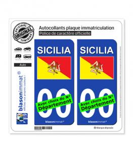 Sicile Région - Drapeau (Italie) | Autocollant plaque immatriculation