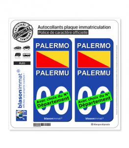 Palerme Ville - Drapeau | Autocollant plaque immatriculation