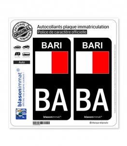 BA Bari Ville - Drapeau | Autocollant plaque immatriculation