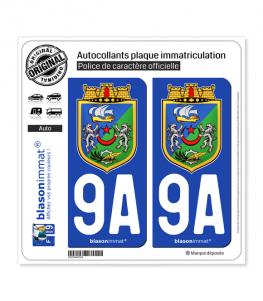 9A Alger - Armoiries | Autocollant plaque immatriculation