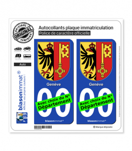 Genève - Armoiries (Suisse) | Autocollant plaque immatriculation