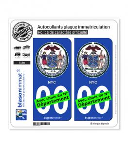 New York - Armoiries | Autocollant plaque immatriculation