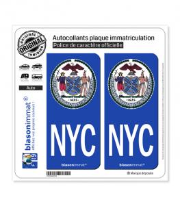 NYC New York - Armoiries | Autocollant plaque immatriculation