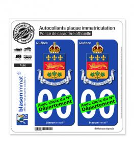 Québec - Armoiries (Canada) | Autocollant plaque immatriculation