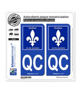 QC Québec - Souvenir (Canada) | Autocollant plaque immatriculation