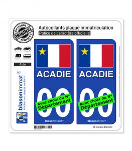 Acadie - Drapeau (Canada) | Autocollant plaque immatriculation
